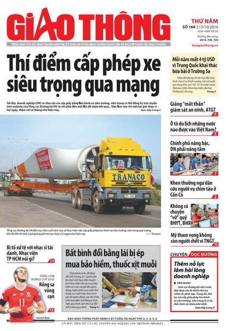 Bao Giao thong 13/10: Cap phep xe sieu trong, 'mat than' giam sat ATGT - Anh 1