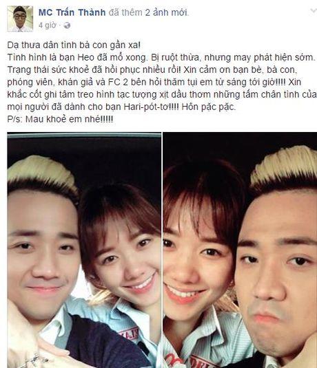 Hari Won tinh tu ben Tran Thanh sau mo ruot thua - Anh 1