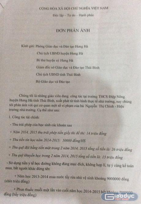 So Giao duc Thai Binh yeu cau xu ly triet de sai pham tai Truong THCS Diep Nong - Anh 1