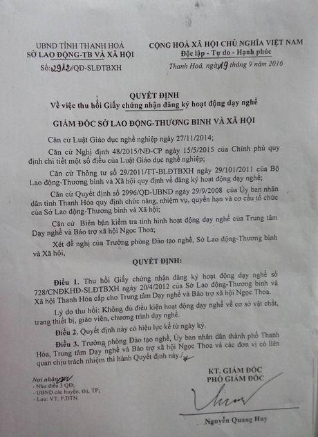 Rut giay phep Trung tam Day nghe va Bao tro xa hoi Ngoc Thoa - Anh 4
