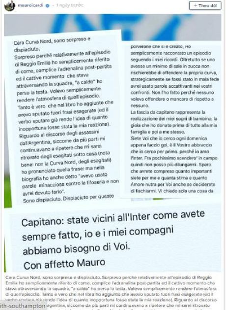 Icardi viet tam thu xin loi CDV - Anh 1