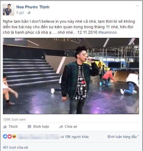 Fan Noo Phuoc Thinh xac dinh khong duoc nghe hit moi suot thang 10 - Anh 1