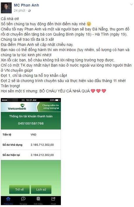 Khong noi suong, sao Viet hanh dong giup do dong bao mien Trung: Phan Anh gay quy duoc 2,2 ty - Anh 2