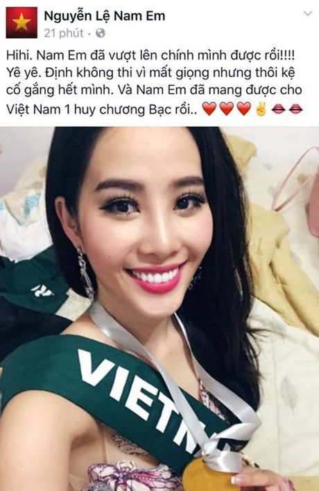 Nam Em doat huy chuong bac trong phan thi tai nang tai Miss Earth 2016 - Anh 1