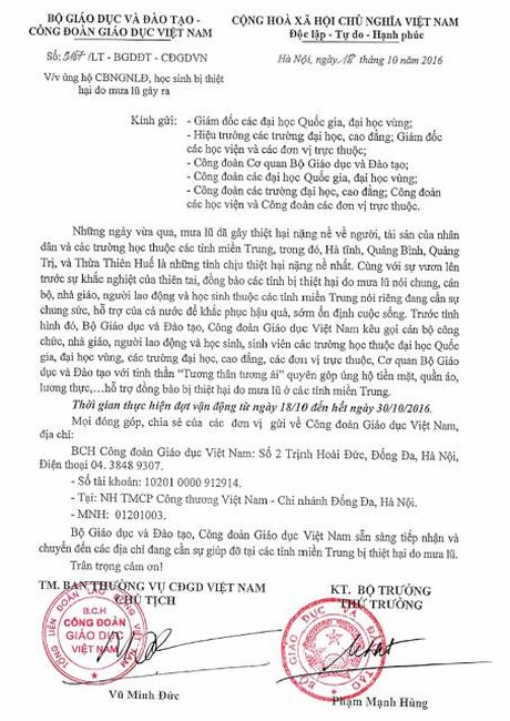 Bo GDDT va CD Giao duc VN: Van dong ung ho can bo, giao vien, hoc sinh bi thiet hai do mua lu - Anh 1