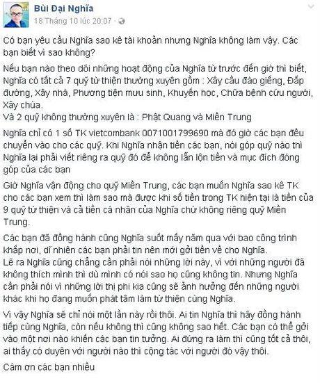 MC Dai Nghia giai thich khi bi nghi ngo khong minh bach ve 800 trieu ung ho mien Trung - Anh 2
