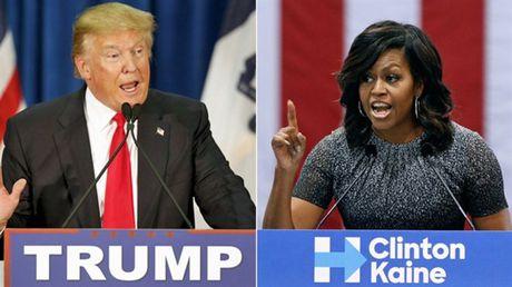 Donald Trump dap tra lai Michelle Obama, cong kich vo chong Obama trong cung mot ngay - Anh 1