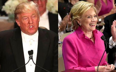 Sau tranh luan lan cuoi, Trump - Clinton vui ve gieu nhai nhau - Anh 1