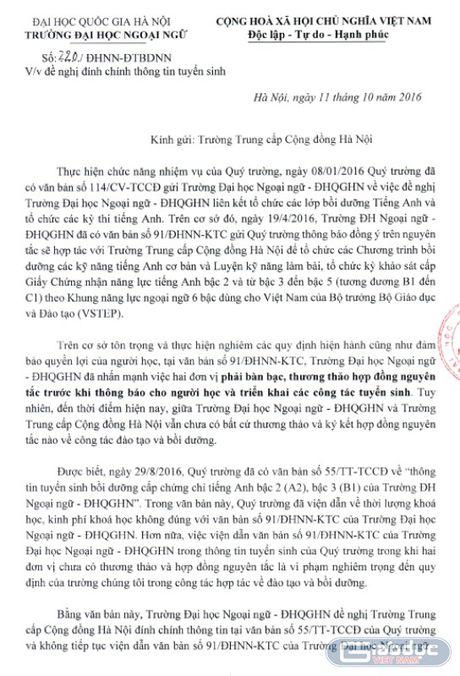 Truong Trung cap Cong dong Ha Noi ngang nhien tuyen sinh khi chua du ho so - Anh 2