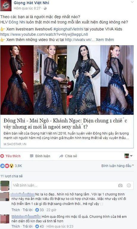 Netizen Viet co 'phan no' voi trang phuc cho la sexy qua muc cua Dong Nhi tai The Voice Kids? - Anh 1