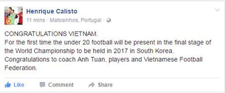 'Phu thuy' Calisto chuc mung U19 Viet Nam gianh ve du World Cup - Anh 2