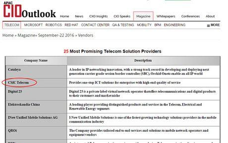 CMC Telecom - Top 25 doanh nghiep vien thong trien vong 2016 - Anh 1