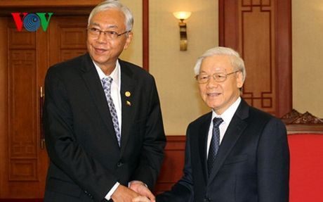 Tong Bi thu Nguyen Phu Trong tiep Tong thong Myanmar - Anh 1