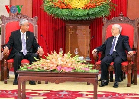 Tong Bi thu Nguyen Phu Trong tiep Tong thong Myanmar - Anh 2