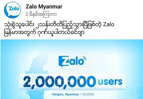 Zalo co 2 trieu nguoi dung tai Myanmar sau 4 thang cung cap dich vu - Anh 1