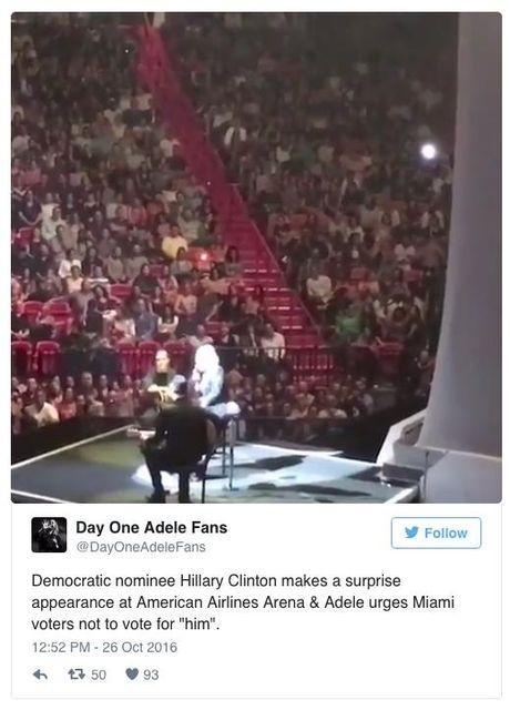 Gac chuyen bau cu, Hillary Clinton den xem Adele bieu dien - Anh 2