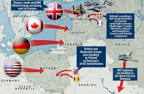 NONG: NATO chia thanh nhieu canh quan ap sat bien gioi Nga - Anh 1