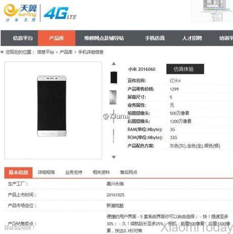 Xiaomi Redmi 4 lo cau hinh day du: Snapdragon 625, 3GB RAM, cam bien van tay - Anh 2