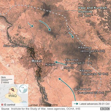 Quan doi Iraq da tien vao ben trong thanh pho Mosul - Anh 1