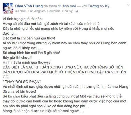 Dam Vinh Hung ban tui hieu cua minh tren facebook ung ho mien Trung - Anh 2