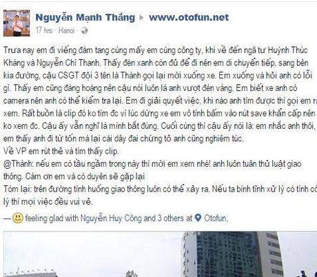 Xon xao vu chung minh khong vuot den vang voi CSGT - Anh 1