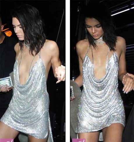Kendall Jenner khoe nguc mini van sexy voi vay tre nai - Anh 2