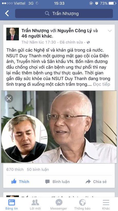 Duy Thanh vua bi benh vien tra ve vi mac hai benh ung thu - Anh 1
