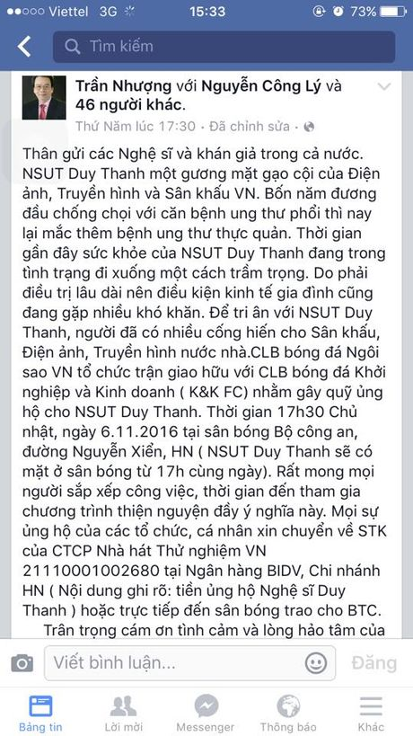 Duy Thanh vua bi benh vien tra ve vi mac hai benh ung thu - Anh 2