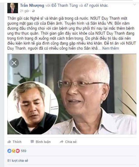 NSND Tran Nhuong keu goi giup do nghe si Duy Thanh bi ung thu phoi da di can - Anh 2