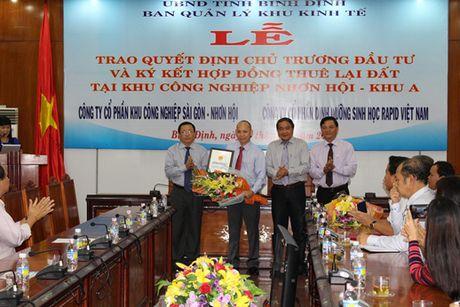 Binh Dinh trao 3 giay chung nhan dau tu moi vao Khu cong nghiep Nhon Hoi A - Anh 1