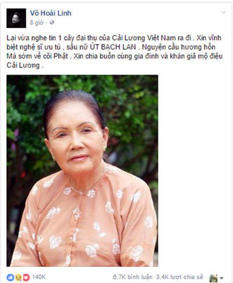 Hoai Linh va dong nghiep thuong tiec su ra di cua nghe si Ut Bach Lan - Anh 1