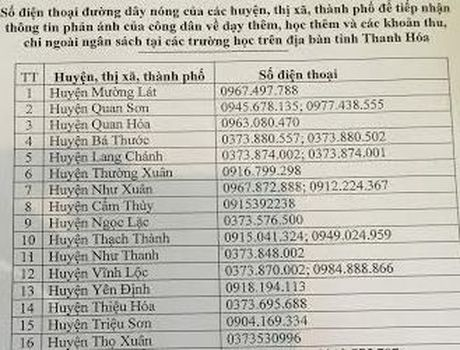 Thanh Hoa: Cong bo duong day nong phan anh lam thu, day them, hoc them - Anh 1