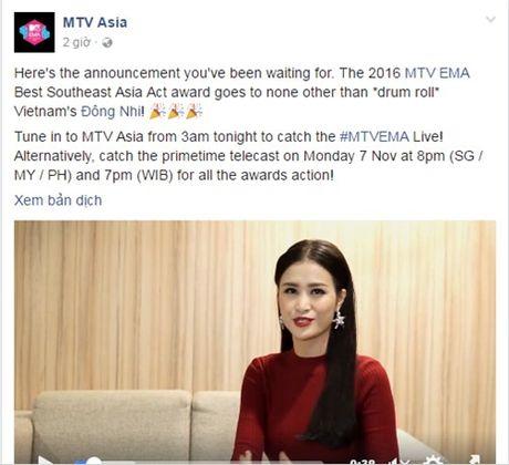 Dong Nhi noi cam on bang tieng Anh luu loat khi chien thang tai EMA 2016 - Anh 2