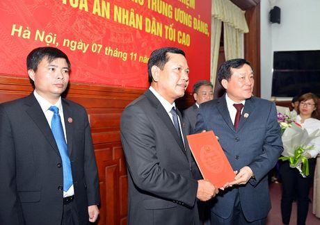 Trao quyet dinh bo nhiem Tro ly, Thu ky Bi thu Trung uong Dang, Chanh an TANDTC Nguyen Hoa Binh - Anh 1