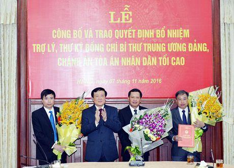 Trao quyet dinh bo nhiem Tro ly, Thu ky Bi thu Trung uong Dang, Chanh an TANDTC Nguyen Hoa Binh - Anh 2