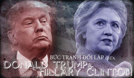 Khac nhau nhu nuoc voi lua giua Trump va Clinton - Anh 1