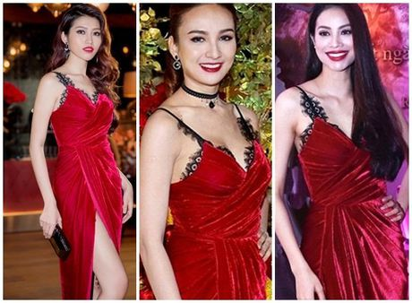 Hoa hau My Linh 'mac chung do' voi A hau Thuy Van - Anh 9