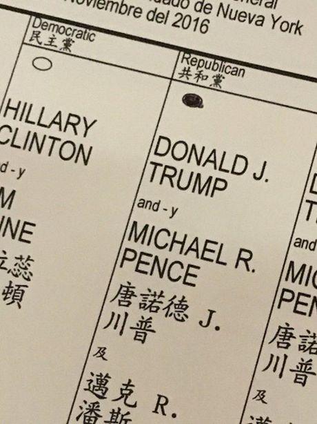 Ba Hillary Clinton va ong Donald Trum da bo phieu bau Tong thong My - Anh 17