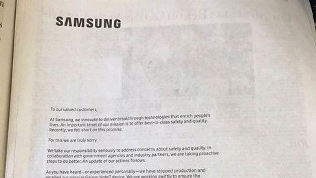 Samsung chay quang cao bao giay xin loi nguoi dung vi su co Note 7 - Anh 1