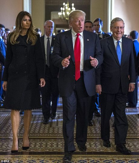 Phu nhan Trump tinh tu nam tay chong trong toa nha Quoc hoi - Anh 6