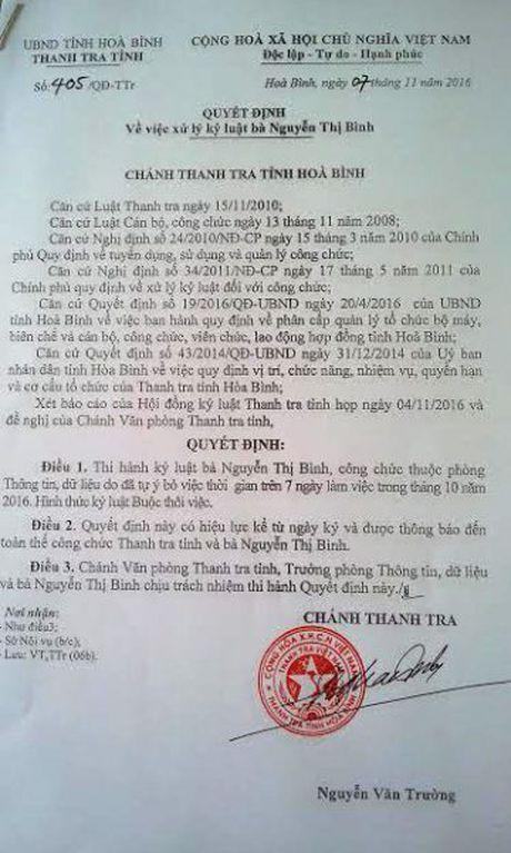Hoa Binh: Khoi to mot nu can bo lam viec tai Thanh tra tinh - Anh 1