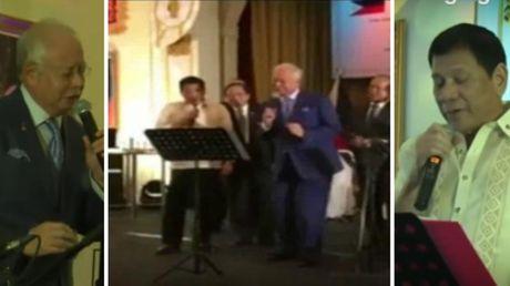 Ong Duterte va Thu tuong Malaysia hat karaoke - Anh 1