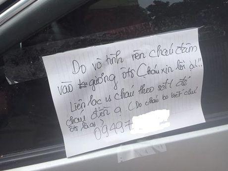 Lam vo guong oto, cau hoc tro gui thu xin loi chu xe - Anh 1