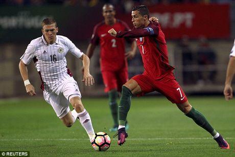 Ronaldo bo lo qua phat den trong chien thang 4-1 truoc Latvia - Anh 4