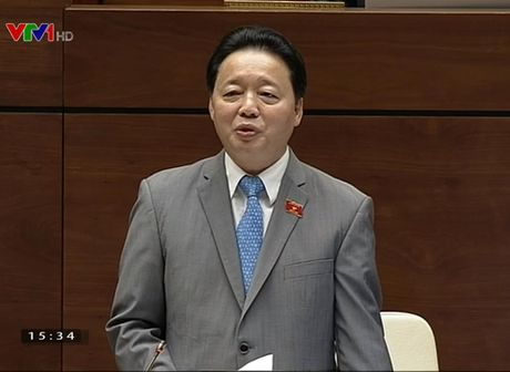 Bo truong Tai Nguyen va Moi truong dang dan tra loi chat van Quoc hoi - Anh 1