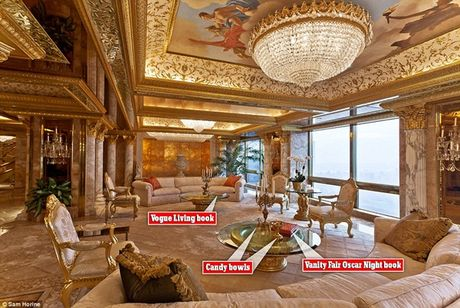 Ben trong can ho tang 66 tren thap Trump gia 100 trieu USD cua ong Donald Trump - Anh 2