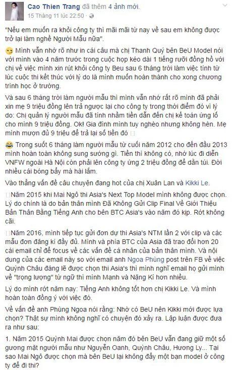 Cao Thien Trang phan phao the nao khi bi Fashionista Thythu Nguyen noi 'to ra nguy hiem'? - Anh 1