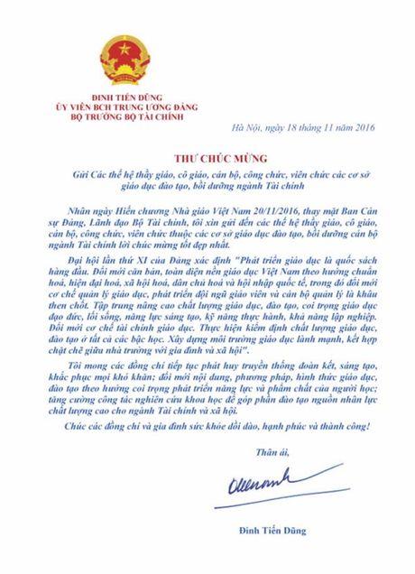 Bo truong Dinh Tien Dung gui thu chuc mung thay co giao nganh Tai chinh - Anh 1