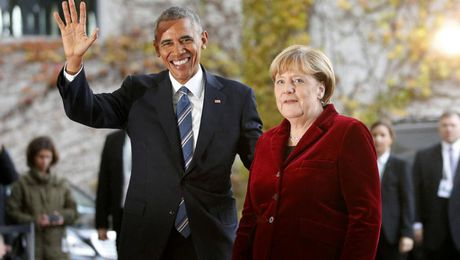Ong Obama chao tu biet thu tuong Duc Merkel, 'dong minh than can nhat' - Anh 1