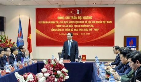 Chu tich nuoc Tran Dai Quang tham va lam viec tai chi nhanh PVEP Peru - Anh 2